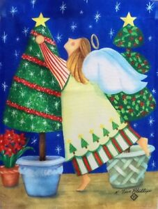 """Topiary Angel Standard House Flag by Toland 24"""" x 36"""", #854, Christmas Tree"""