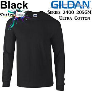 Gildan-Long-Sleeve-T-SHIRT-Black-Basic-tee-S-5XL-Men-039-s-Ultra-Cotton-jumper