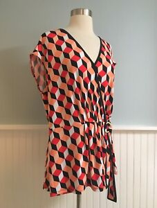 Size-XL-MICHAEL-KORS-Women-s-Geometric-Wrap-Shirt-Top-Blouse-Extra-Large-NWT-New