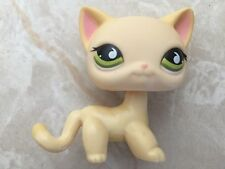 Littlest Pet Shop RARE Standing Cat #733 Short Hair Yellow Stripe Cream Green