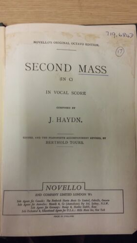 Vocal Music Score Mass In Time Of War Haydn