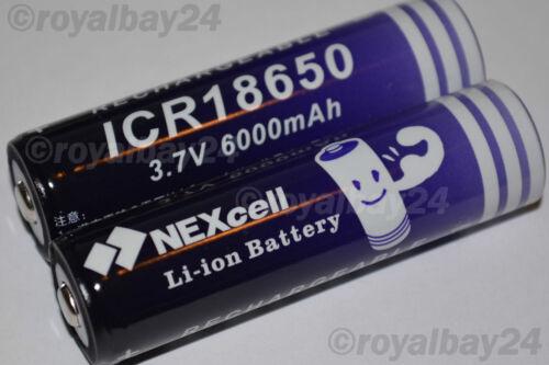2x NEXcell Li-ion Akku 3,7V 6000mAh BAY ICR 18650 accu Taschenlampe Batterie!