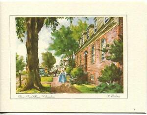 VINTAGE-COLONIAL-VIRGINIA-JOHN-BLAIR-BRICK-HOUSE-GARDEN-PRINT-1-TEAPOT-BEAR-CARD