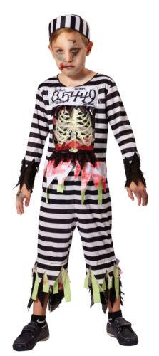 Boys Kids Zombie Skeleton Prisoner Convict Inmate Halloween Fancy Dress Costume