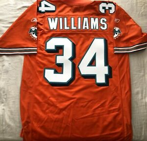 Details about Ricky Williams Miami Dolphins authentic Reebok triple stitched orange jersey NEW