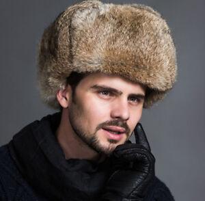 Winter-Men-039-s-Quality-Ushanka-Raccoon-Plush-Russian-Cossack-Trapper-Hat-Warm-Cap