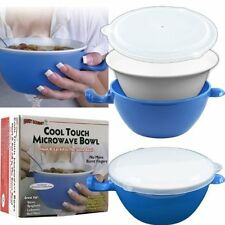 Cool Touch Microwave Bowl Handle Cooking Safe Ceramic Holder Vented Lid 24oz NEW