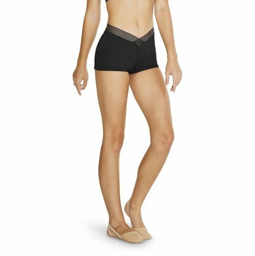 Bloch Girls V Shaped Waistband Shorts Hot Pants Dune FR5124C Black Gym Dance