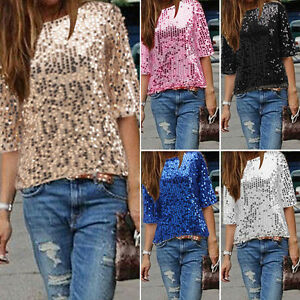 Womens-Ladies-Sequined-Bling-Shiny-Tank-Top-Short-Sleeve-T-Shirt-Blouse