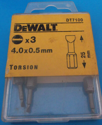 Slotted X 3 Dewalt Screwdriver Bits 4.0 x 0.5mm Torsion Flat