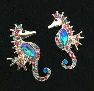 Multi-Color-Crystal-Rhinestone-Seahorse-Stud-Earrings