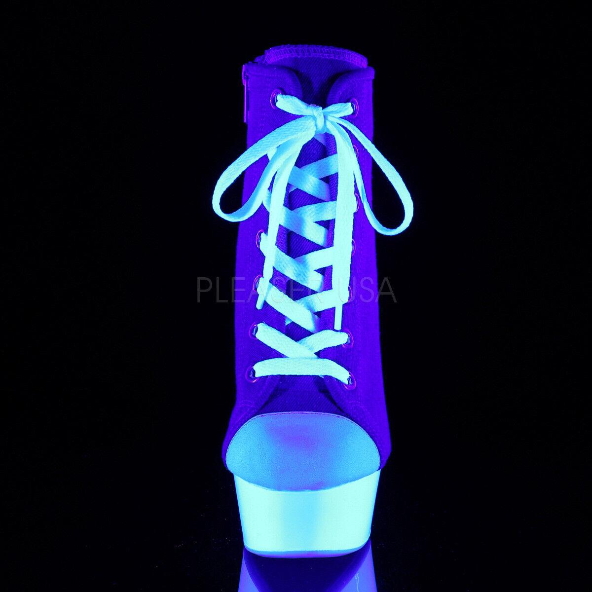 PLEASER 6    Heel Platform Blacklight Reactive Denim bluee Canvas Sneaker shoes 133944