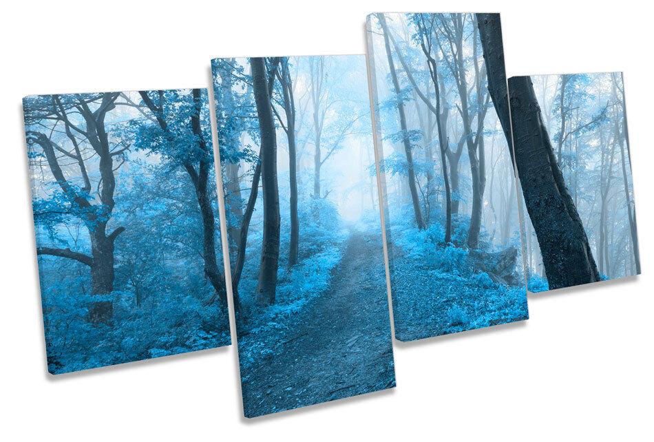 Paisaje Bosque Azul Lona panel Pared Arte Impresión de panel Lona de cuatro bf76f2