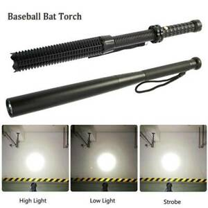 Black Baseball Bat LED Extend Flashlight Waterproof Security Super Bright Torch