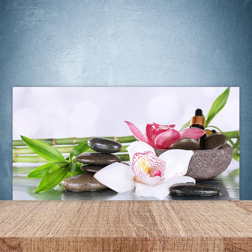 Crédence de cuisine en verre Panneau Paroi 100x50 Floral Bambou Pierres Fleurs