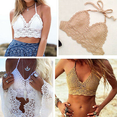 NEW Sexy Handmade Swimwear Crochet Beach Swimsuit Cover Up Knitted Bikini Halter