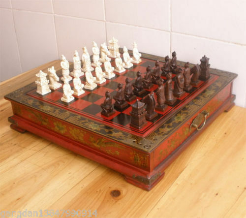 Collectibles Vintage 32 chess set /& Leather Wood Box Flower Bird Table