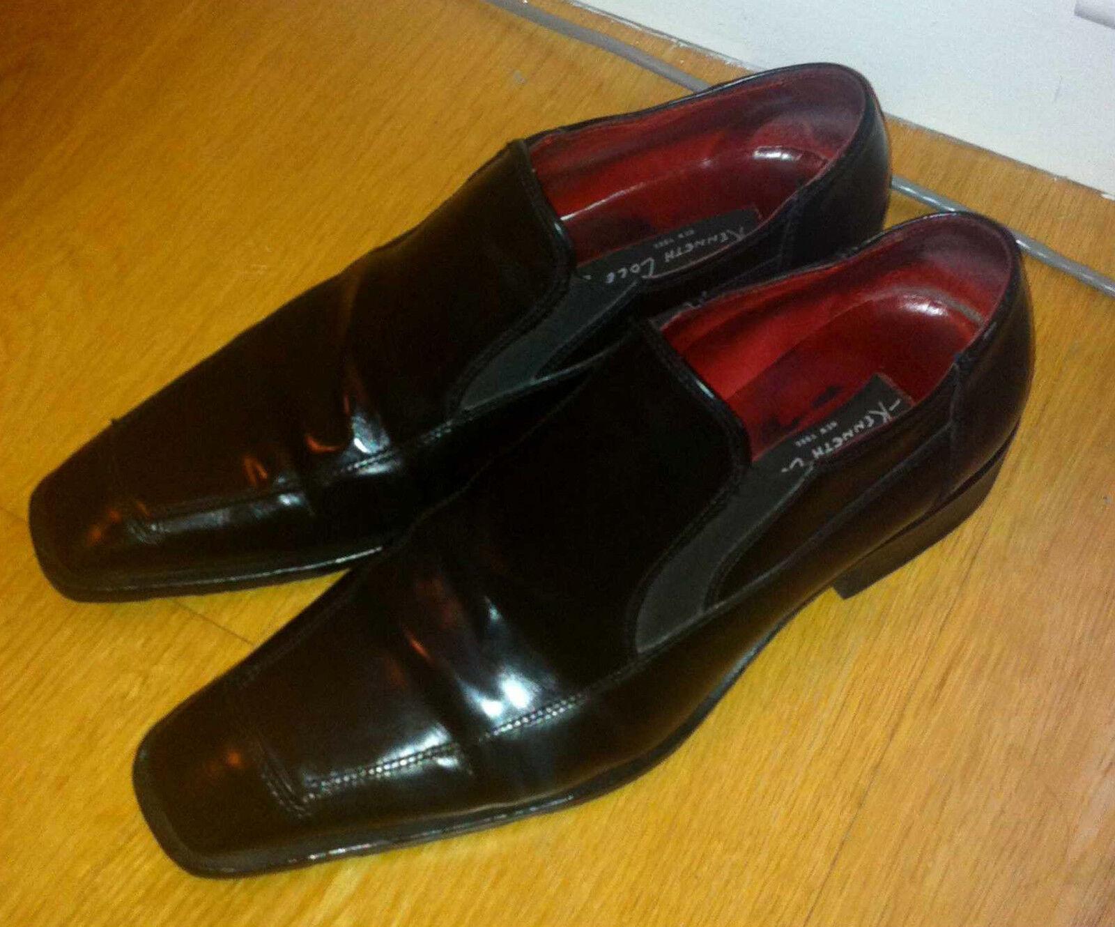 Kenneth Cole New York Uomo Nero Pelle Scarpe 7UK MADE IN ITALY USATO