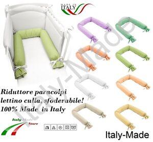 Infanzia E Premaman Riduttore Lettino Culla Paracolpi Sfoderabile Lavabile 220 Cm Made In Italy Lettini