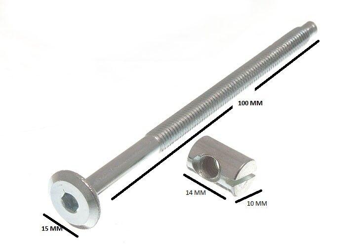 Mobili Lettino Bullone Testa Cava Esagonale + Dado Cilindrico 6mm M6