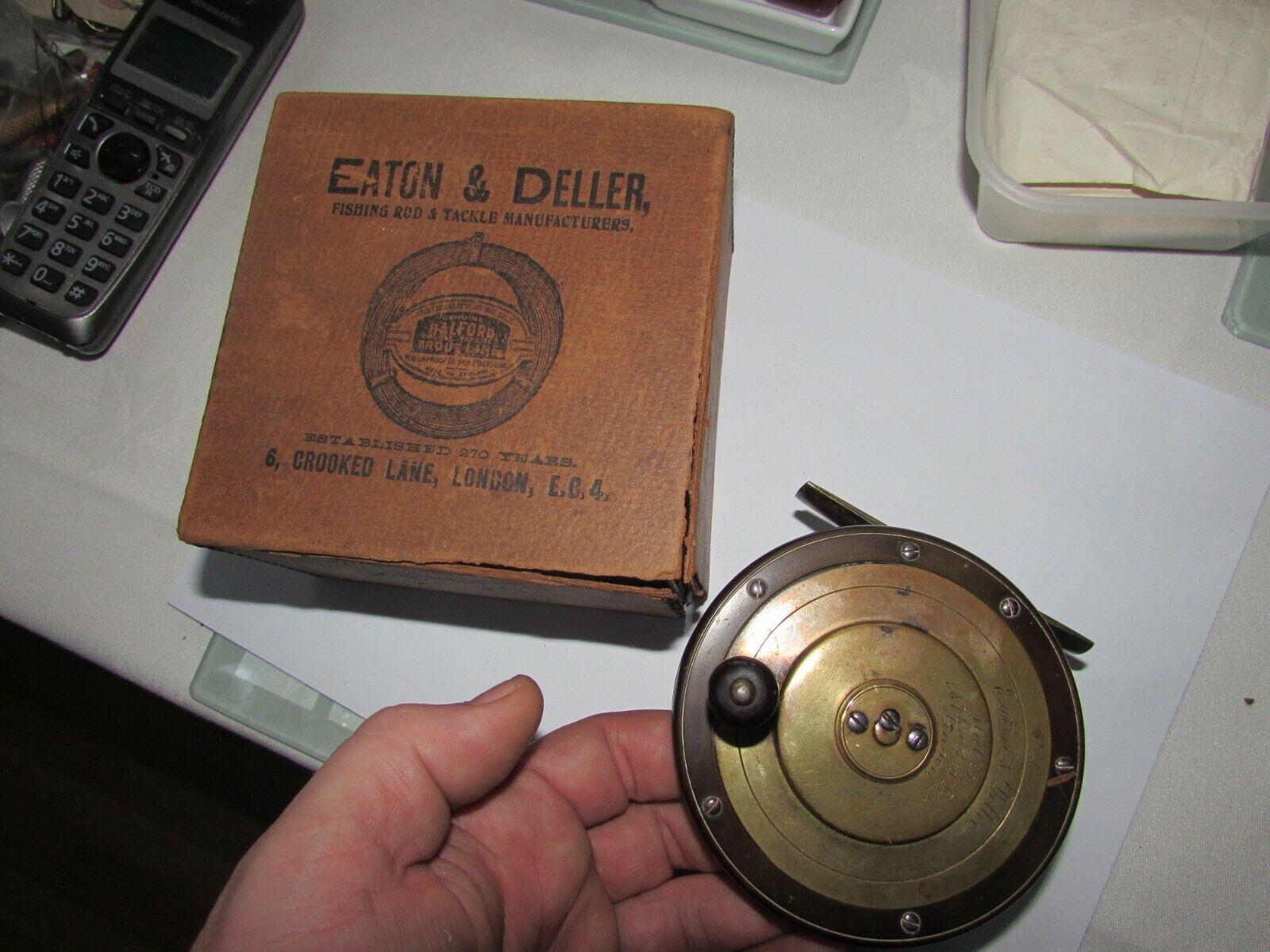 A1 Excelente Vintage Eaton Deller Latón Ebonita Salmón Pesca Con Mosca Cocherete 4  + Caja