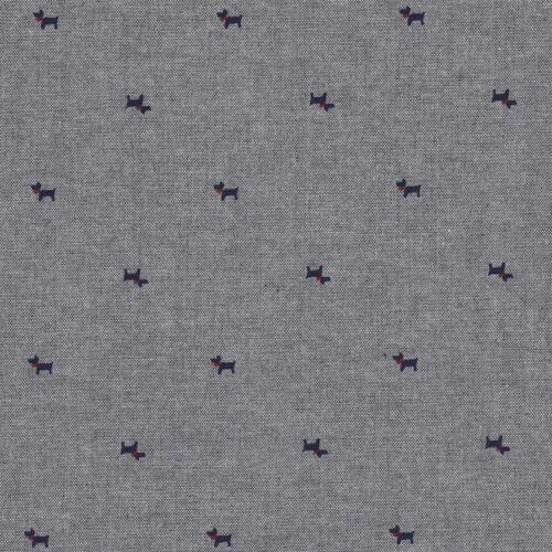 Scottie Dog Chambray Cotton Fabric Shirts Dressmaking Children Pink Blue Grey