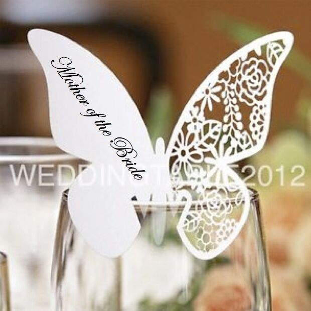 Personalised Butterfly Glass Place Cards, Luxury Pearlescent Card, Heart Cards