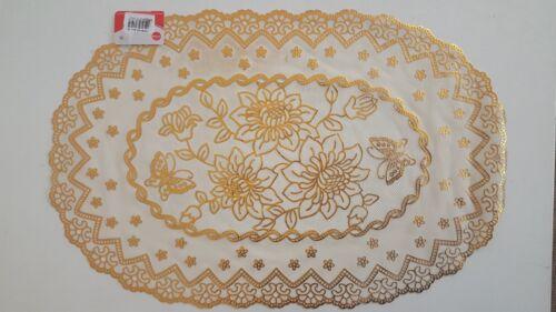Dentelle Effet PVC napperon Maison Noël Dinning Decor Table Mat Argent or ovale