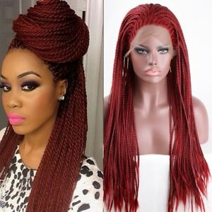 Details about Red Braided Wig Curly Braids Hair Heat Resistant Hair  Synthetic Lace Front Wigs