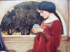 "Pre-Raphaelite CRYSTAL BALL skull spell art print girl J. W. Waterhouse 7"" x 5"""