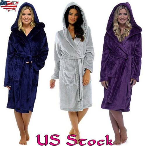 Women Winter Autumn Robe Soft Fleece Bathrobe Thick Terry Nightwear Sleepwear