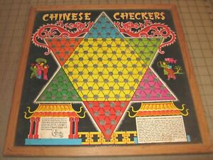 Vintage CHINESE CHECKERS Loose Board Game Board - Great Graphics Transogram
