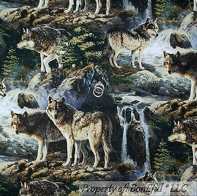 BonEful Fabric FQ Cotton Quilt Real Scenic Wild Wolf Wolves Water Tree Cabin VTG
