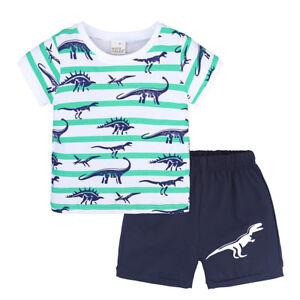 Boy Short Sleeve T-Shirt and Shorts Kid 2 Pcs Summer Outfit Clothing Set /…