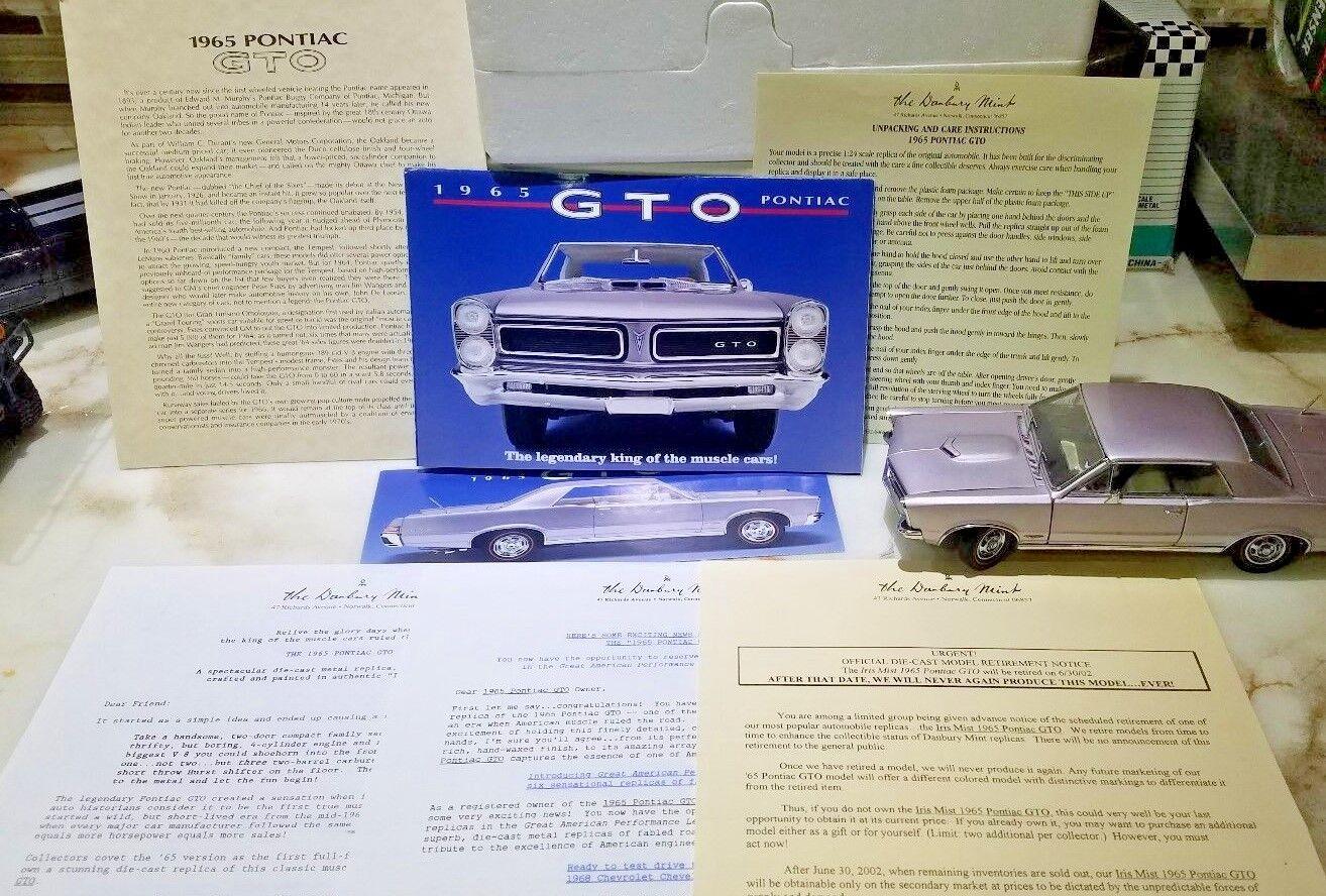 1965 Pontiac Gto Irish Mist 1 24 W Caja título todos los papeles & folletos Danbury Mint