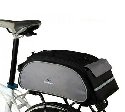 Cycling Bicycle Bike Shoulder Handbag Pannier Rear Seat Bag 13L Rack Trunk Black