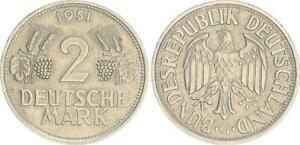 Alemania 2DM Moneda de Curso 1951G Espigas Y Uvas ( (44575)