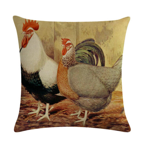 """18/"""" Linen Chicken Pillow Cover Vintage Farmhouse Rooster Decorative Cushion Case"""