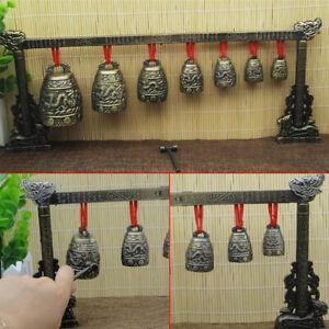 Chinesische Musikinstrument Bronze Meditation Gong mit 7 verzierte Glocke Set