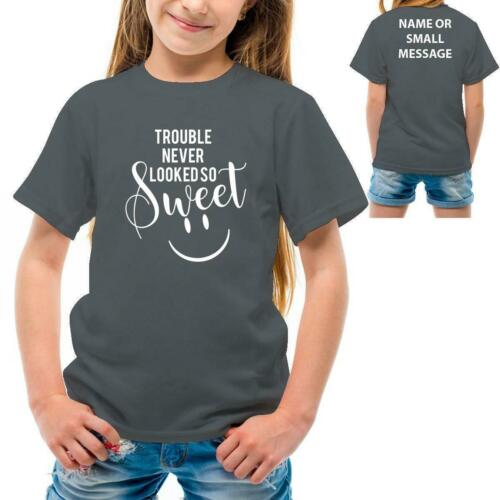 Trouble and sweet Funny Kids boys girls Printed  T-Shirt Tee Top