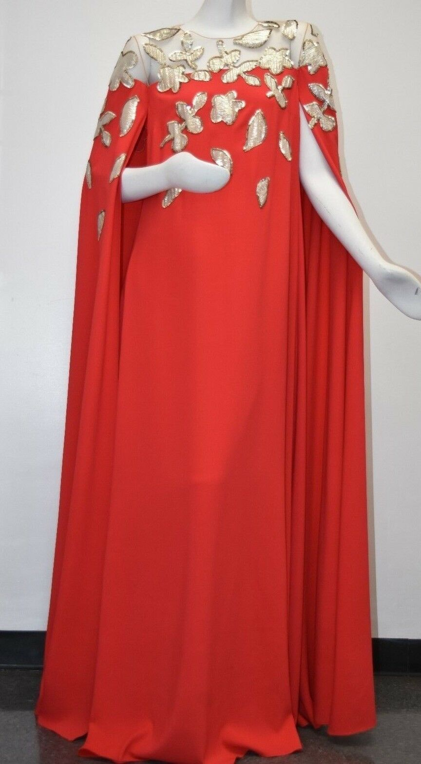 Neu Oscar De La Renta Seide Kaftan Umhang Abendkleid Rot Illusion Gold Lame