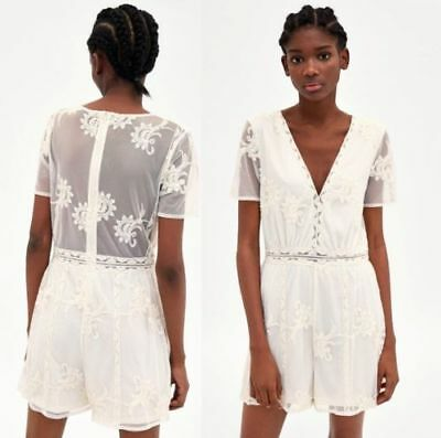 ZARA ROMANTISCHES OVERALL KLEID STICKEREI BOMMEL EMBROIDERED JUMPSUIT DRESS