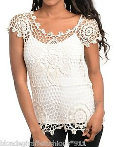 Ivory-Open-Crochet-Knit-Pullover-Cover-Up-Cap-Sleeve-Top-Blouse-S