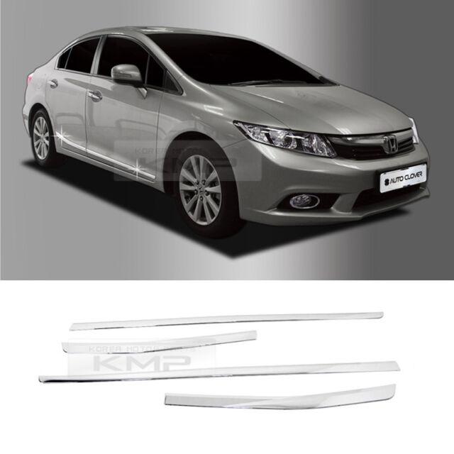 For 2012-2013 Honda Civic Chrome Side Door Skirt Accent Garnish Molding Trim