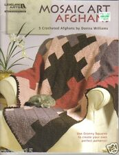 Mosaic Art Afghans ~ Crochet Book  ~ 6 GRANNY SQUARE Afghan Patterns ~ New Book