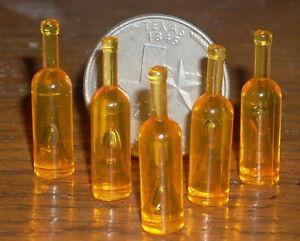 5 Blank Wine Bottle Bottles 1:12 Customize Alcohol Amber Dollhouse Miniatures