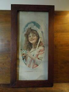 Antique-1909-Edwardian-Era-Framed-F-A-Schneider-Print-Girl-in-Dress-034-Daisy-034