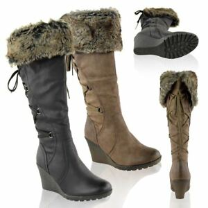 WOMENS-LADIES-MID-WEDGE-HIGH-HEEL-FUR-LINED-WARM-WINTER-KNEE-CALF-ZIP-BOOTS-SIZE