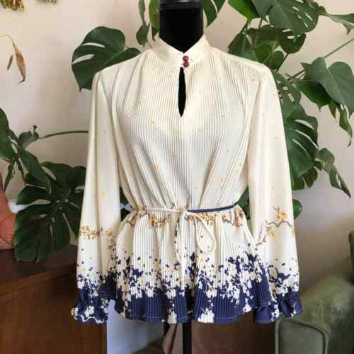 Vintage 70s Silky Poly Floral Blouse - image 1