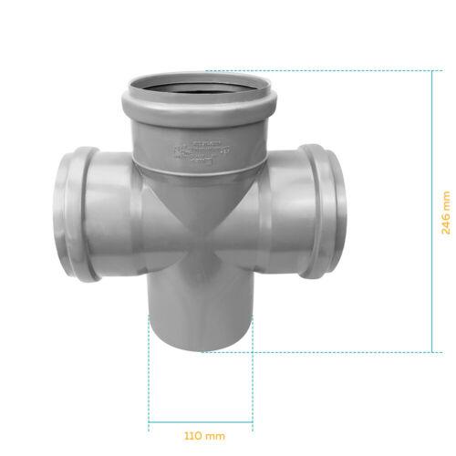 Kreuzstück Kunststoff Installation Abwasser 110 mm Grau Varianten NEU